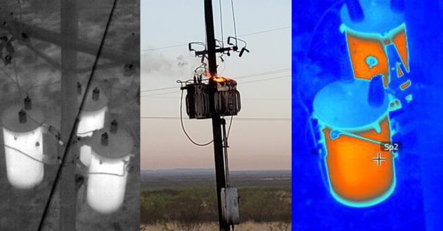 A photo of a transformer fire and thermal views showing overloaded transformers